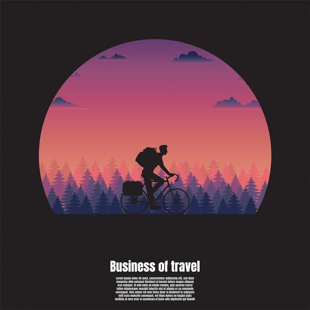 Silhouetreis van een fietsermens Premium Vector