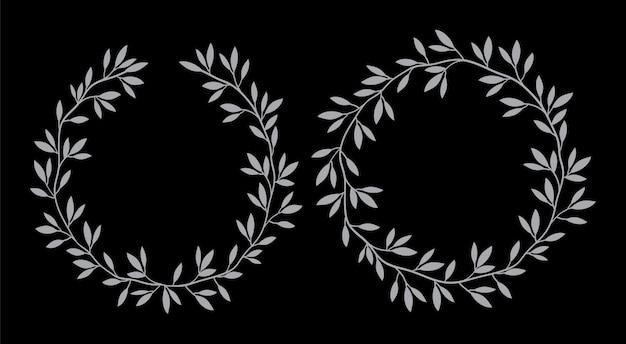 Silhouetten rond vintage bloemenframes Premium Vector