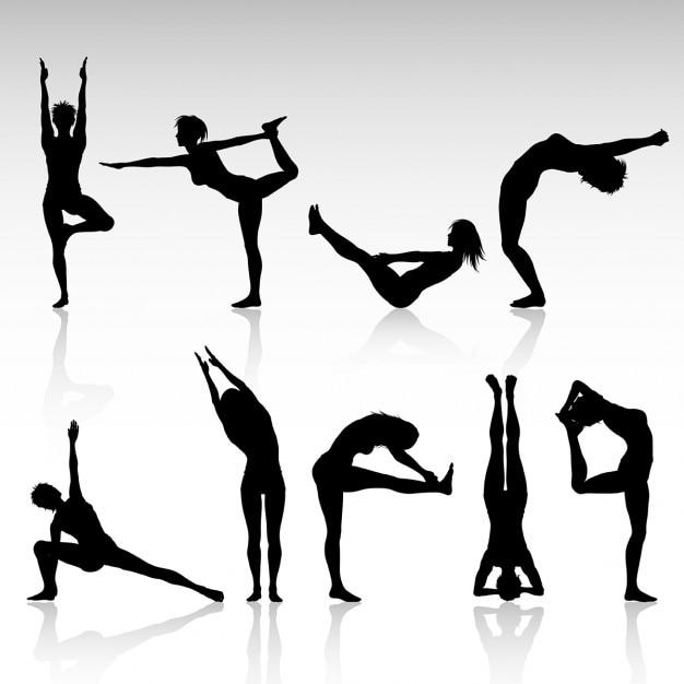 Silhouetten van de vrouwen in verschillende yoga houdingen Gratis Vector