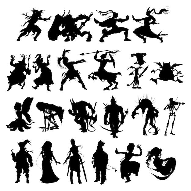 Silhouetten van fantasie stripfiguren Premium Vector