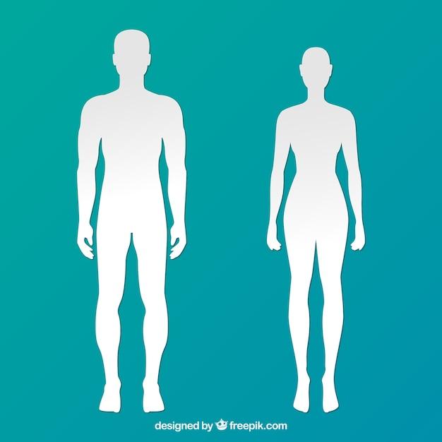 Silhouetten van man en vrouw Gratis Vector