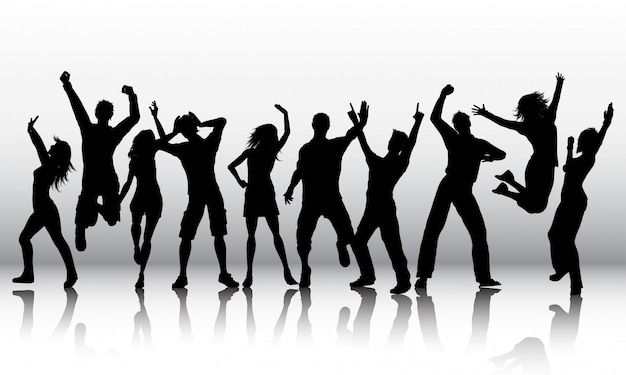 Silhouetten van mensen dansen Gratis Vector