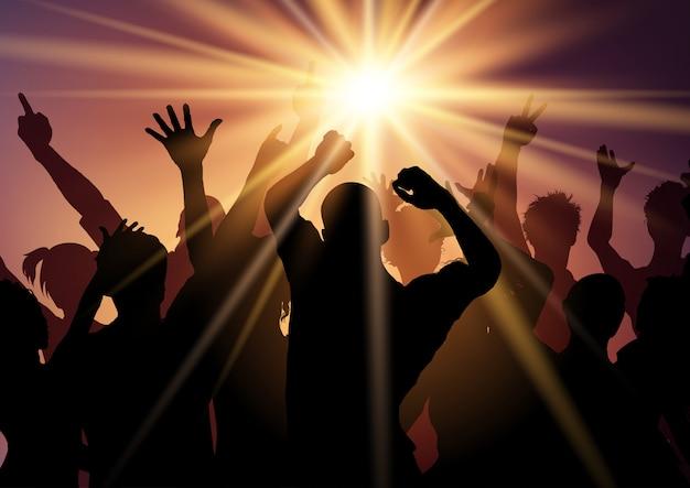 Silhouetten van mensen die op disco dansen Gratis Vector