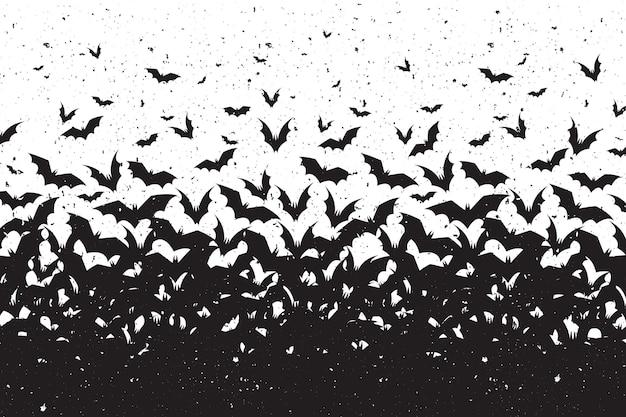 Silhouetten van vleermuizen halloween achtergrond Gratis Vector