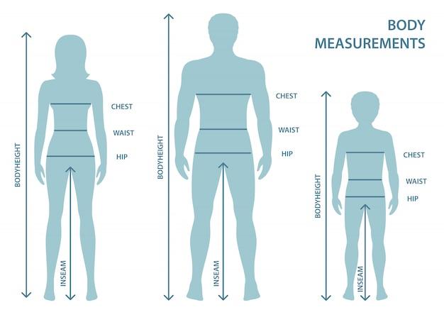 Silhouetten van volwassen man en vrouw en jongen in volle lengte met meetlijnen van lichaamsparameters Premium Vector