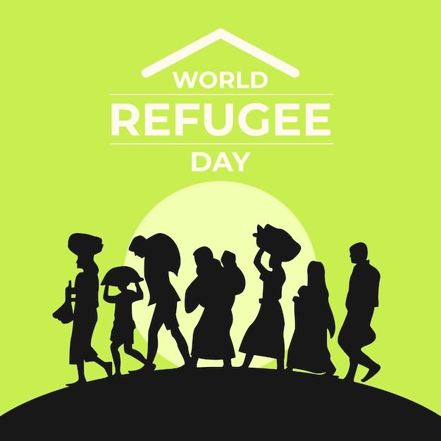 Silhouetten wereld vluchtelingendag evenement Gratis Vector