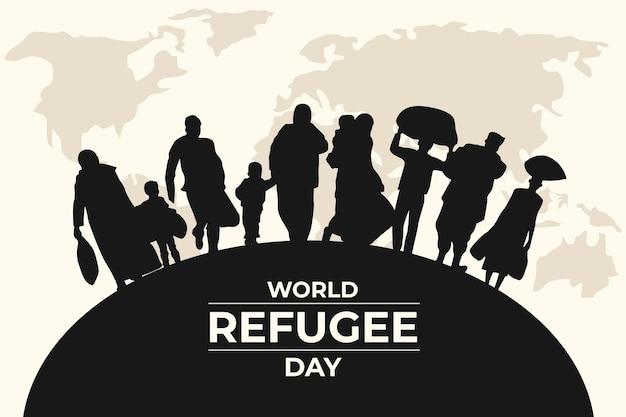 Silhouetten wereld vluchtelingendag Premium Vector