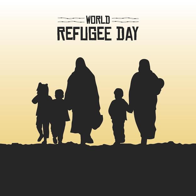Silhouetten wereld vluchtelingendag Gratis Vector
