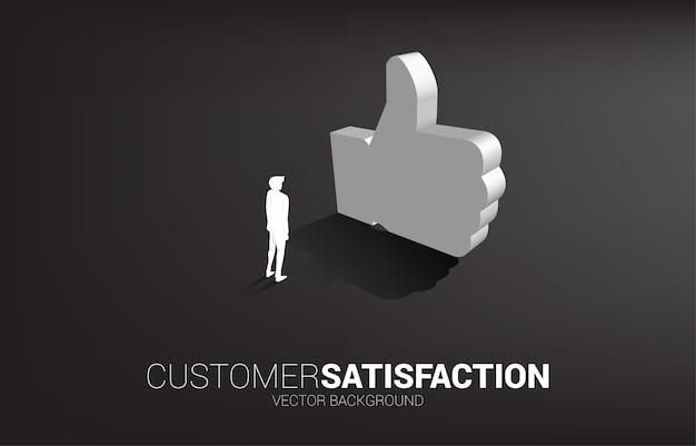 Silhouetzakenman die zich met 3d duim op pictogram bevinden. Premium Vector