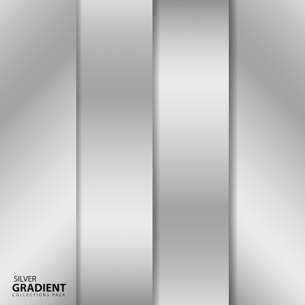 Silver gradient collections pack Premium Vector