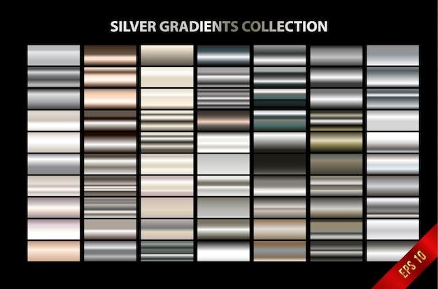 Silver gradients collection Premium Vector