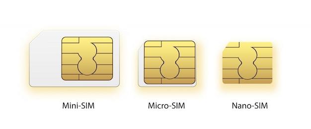 Sim-kaart pictogram symbool concept. nieuwe chip mobiele cellulaire communicatietechnologie. simkaarten instellen voor mobiele apparaten met chip. Premium Vector