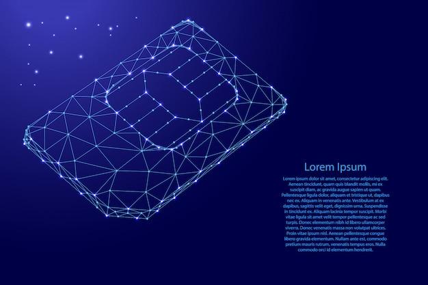 Sim-kaart telefoonkaart van futuristische veelhoekige blauwe lijnen en gloeiende sterren sjabloon Premium Vector