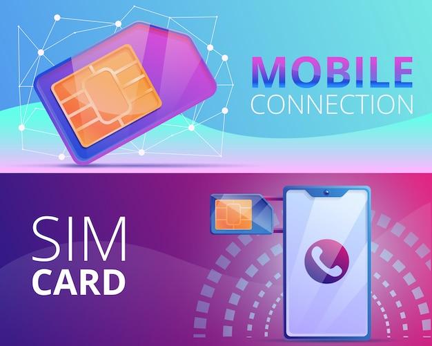 Sim telefoon kaart illustratie ingesteld op cartoon stijl Premium Vector