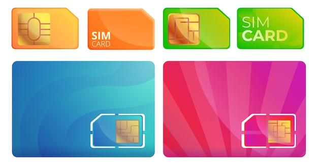 Sim telefoonkaart pictogrammen instellen, cartoon stijl Premium Vector