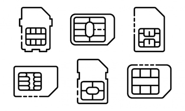 Sim telefoonkaart pictogrammen instellen, kaderstijl Premium Vector