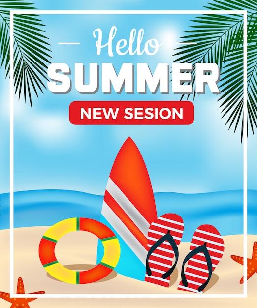 Simple banner zomerstrand palmblad en tol ontspannen vakantie Premium Vector