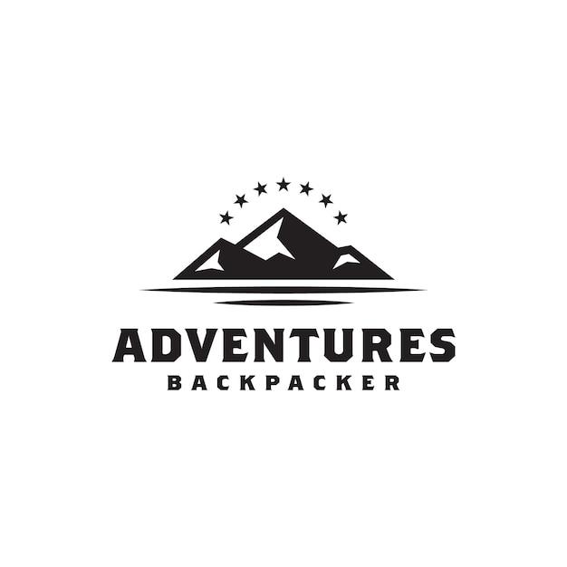 Simple bold black mountain met star-logo Premium Vector