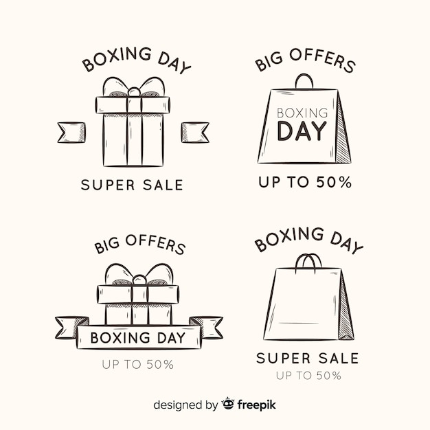 Simple boxing day stickers collectie Gratis Vector