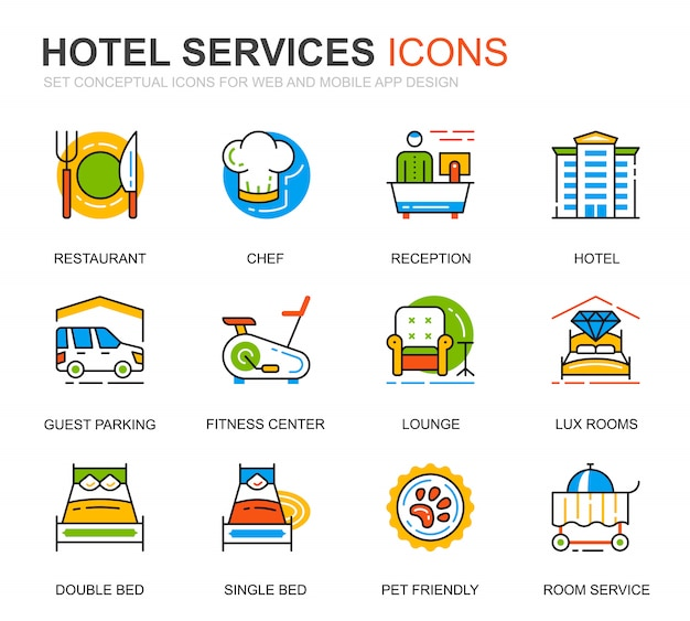 Simple set hotel service line icons voor website Premium Vector