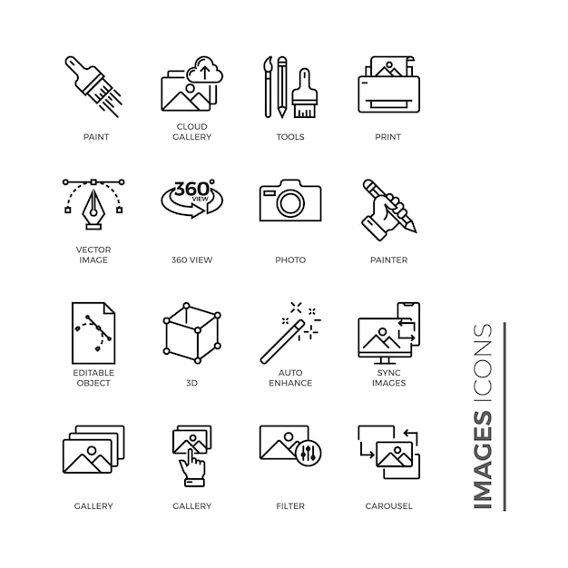 Simple set of images icon, outline icon Premium Vector