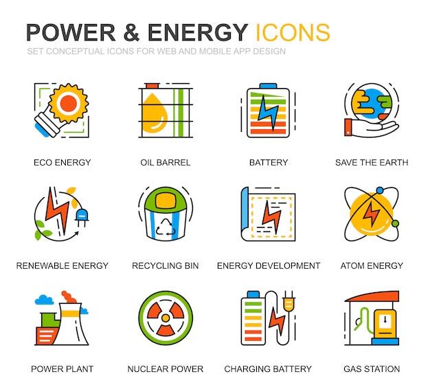 Simple set power industry en energy line icons voor website Premium Vector