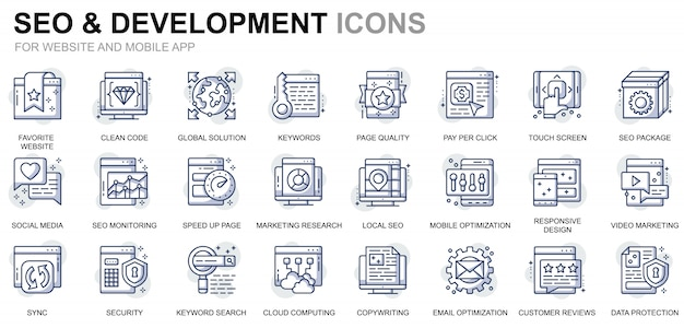 Simple set seo en development line icons voor website en mobiele apps Premium Vector