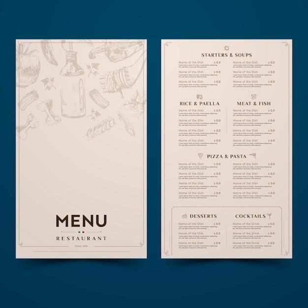 Simplistisch ontwerp voor restaurantmenu Gratis Vector