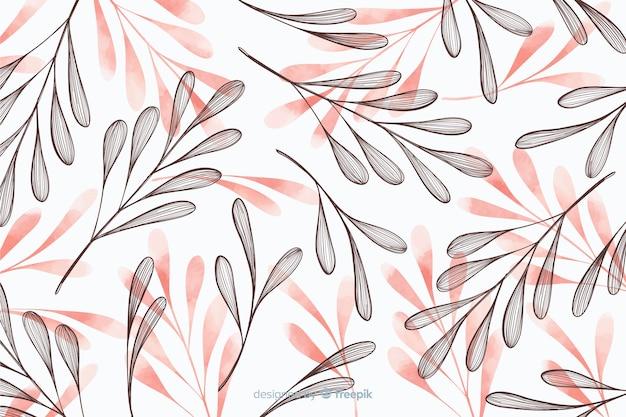 Simplistische achtergrond met hand getrokken bladeren Gratis Vector