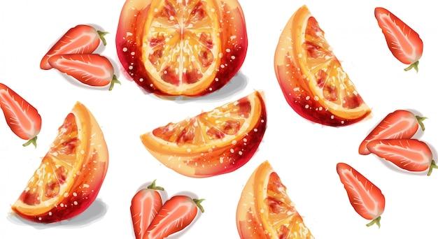 Sinaasappel en aardbei in waterverf Premium Vector