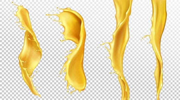 Sinaasappelsap stroomt met druppels, vloeibare spatten Gratis Vector