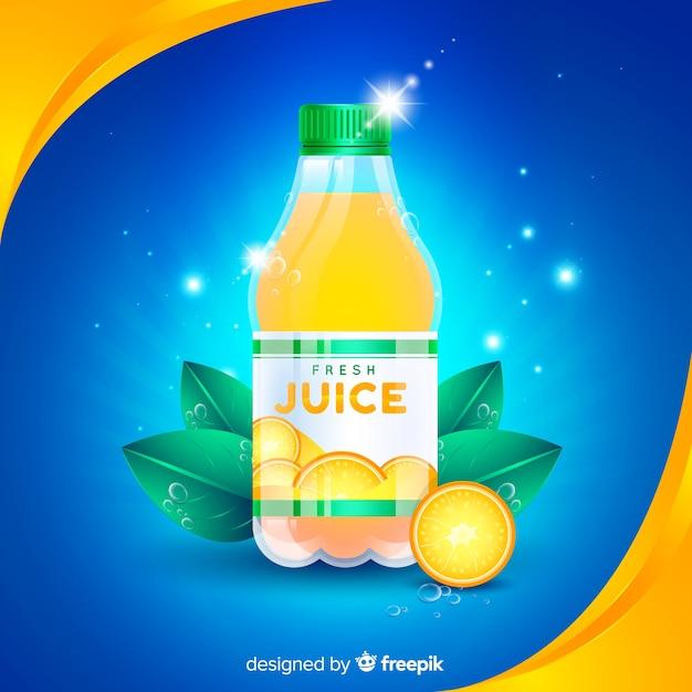 Sinaasappelsapreclame met realistisch ontwerp Gratis Vector