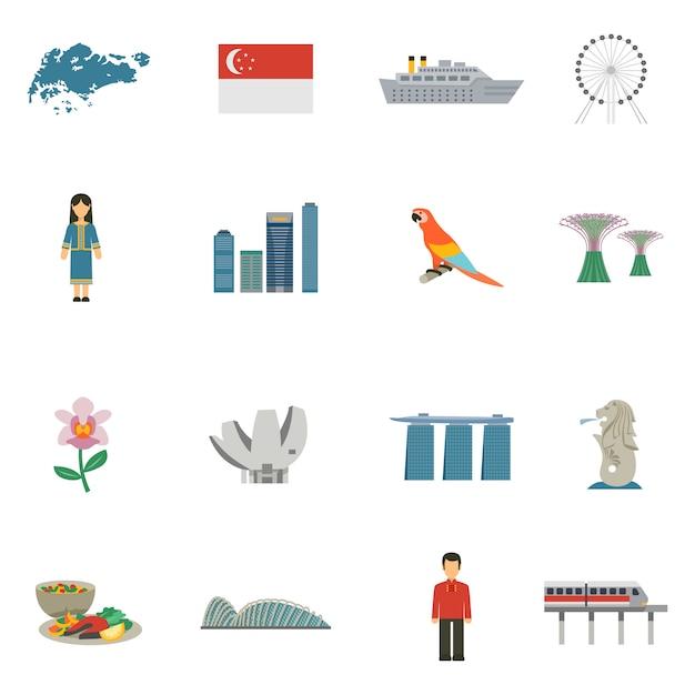 Singapore cultuur vlakke pictogrammen instellen Gratis Vector