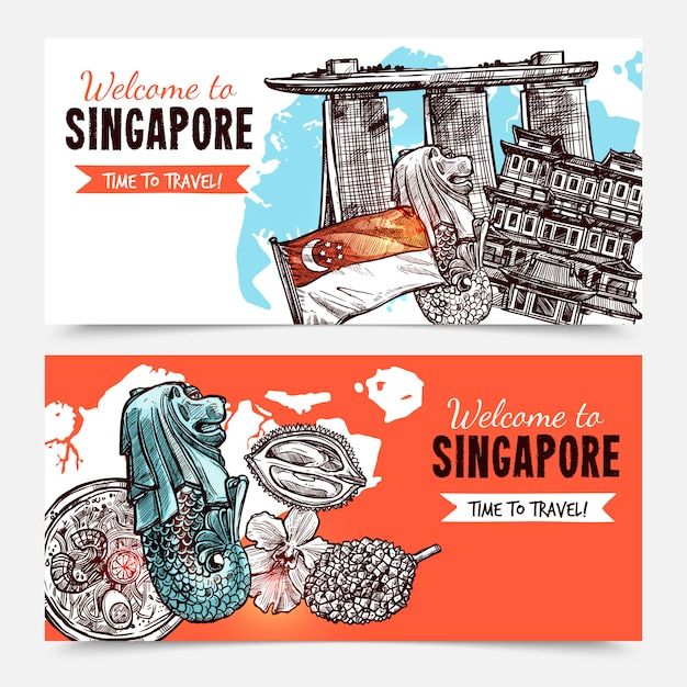 Singapore hand getrokken schets banners Gratis Vector