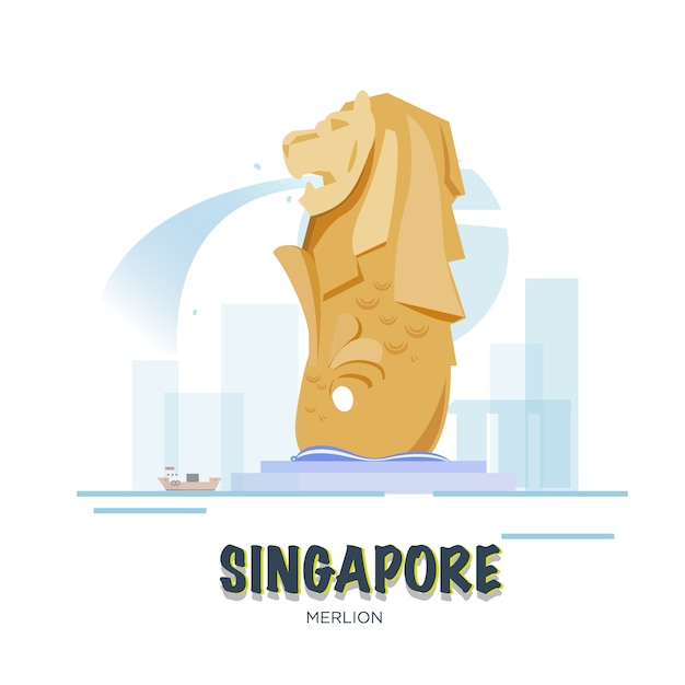 Singapore landmark. asean set. Premium Vector
