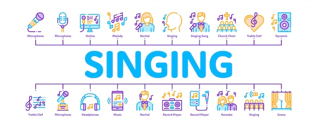 Singing song banner Premium Vector
