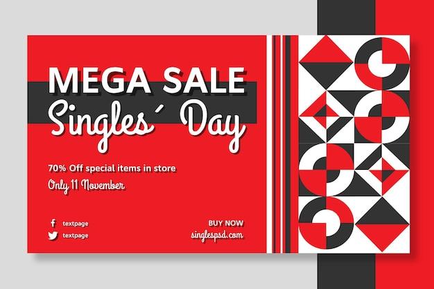 Singles day sjabloon voor spandoek Gratis Vector
