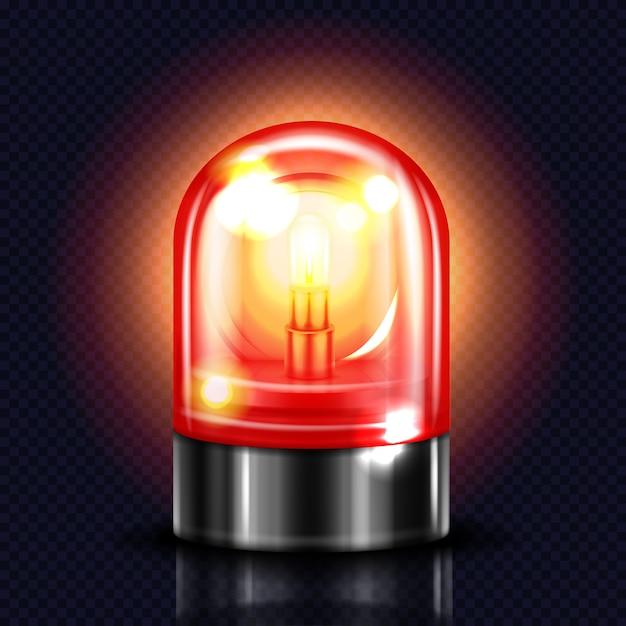 Sirene lichte illustratie van rode alarmlamp of politie en ambulance noodgevallen flitser. Gratis Vector