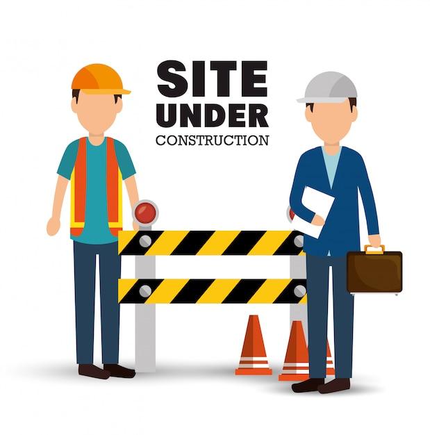 Site in aanbouw poster mannen werknemer waarschuwingsbord Gratis Vector