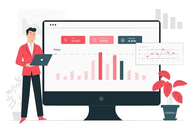 Site statistieken concept illustratie Gratis Vector