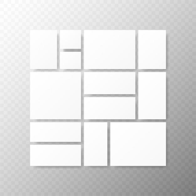 Sjablonen collagekaders voor foto of illustratie montage fotolijstsjabloon Premium Vector