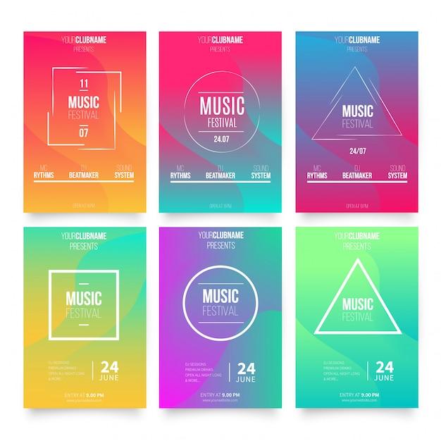 Sjablonen voor abstracte muziekaffiches Gratis Vector