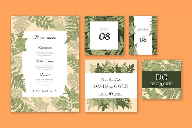 Sjablonen voor bruiloft-briefpapier Gratis Vector