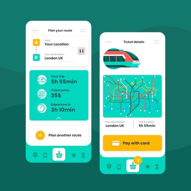 Sjablonen voor interfaces voor openbaar vervoer-apps Gratis Vector
