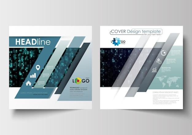 Sjablonen voor vierkante ontwerpbrochure, tijdschrift, vlieger, boekje. virtuele realiteit Premium Vector