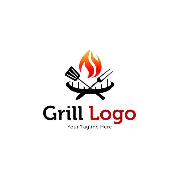 Sjablonen voor warme grill-logo's Premium Vector