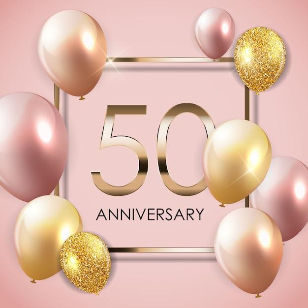 Sjabloon 50 jaar verjaardag achtergrond met ballonnen Premium Vector