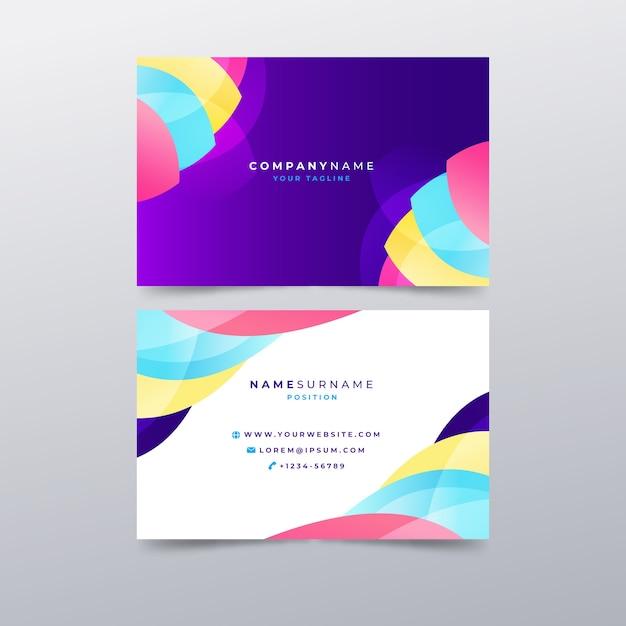 Sjabloon abstract kleurrijk visitekaartje Gratis Vector