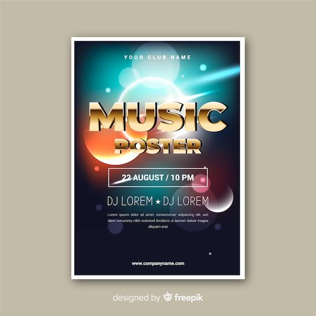 Sjabloon abstract lichteffect muziek poster Gratis Vector