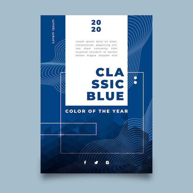 Sjabloon abstracte klassieke blauwe flyer Gratis Vector